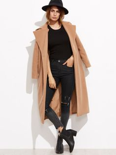 To find out about the Camel Oversized Collar Open Front Coat at SHEIN, part of our latest Outerwear ready to shop online today! Style Wish, My Style, Camel Coat, Beachwear, Clothes For Women, Long Sleeve, How To Wear, Coats, Polyvore