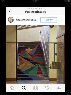 Geometric mountains painted stairway. Bad colors. Interesting idea