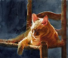 Orange Marmalade Ginger Tabby Cat Art Print of my watercolor painting large huge big realistic realism custom canvas - Kunst: Katzen - Cats in Art - Watercolor Cat, Watercolor Paintings, Painting Art, Watercolor Animals, Watercolors, Cat Art Print, Custom Canvas, Cat Drawing, Animal Paintings