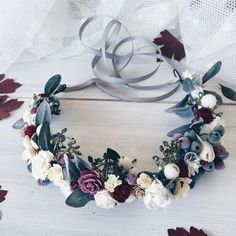 floral winter crown.. ideas for your winter wonderland wedding. winter wedding ideas. floral crown ideas. floral crown dark colors simple floral design.