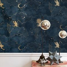 Papier peint Stars and Monkeys - Midnight Blue - Magic Garden - Gold Bedroom, Bedroom Decor, Star Bedroom, Budget Bedroom, Home Interior Design, Interior And Exterior, Gold Interior, Interior Plants, Cheap Home Decor
