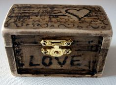 rustic Wedding Pillow Wood Box Brown Bearer box by Hobby4Crafts