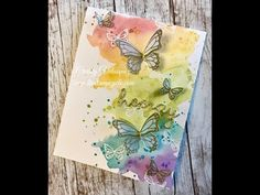 Christy Velasquez from The Stamp Cycle demonstrates how to make a watercolor background card using the new Butterfly Gala bundle from the new Stampin Up Nautical Cards, Butterfly Cards, Butterfly Kit, Stamping Up Cards, Tampons, Watercolor Cards, Scrapbook Cards, Homemade Cards, Making Ideas