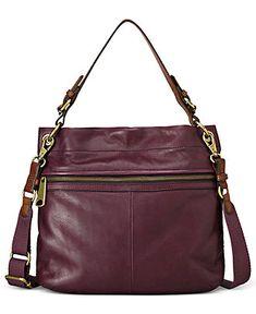 Fossil Handbag, Leather Stripe Hobo - Fossil - Handbags & Accessories - Macy's
