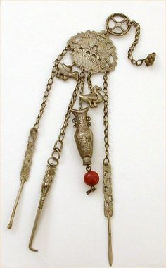 Antique Chinese Silver Opium Chatelaine with Bottle & Tools