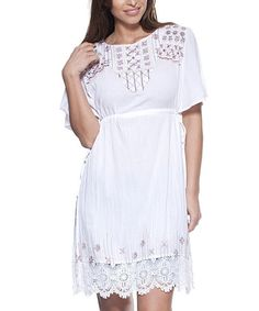 Look what I found on #zulily! White Embroidered Lace-Trim Split-Hem Tunic #zulilyfinds