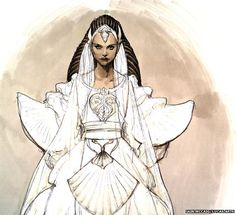 Some, such as this concept art for Padme's wedding dress for Attack of the Clones, focus on the fashions of the mythical galaxy. (Image: Iai...