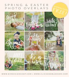 Spring & Easter Photo Overlays | Photoshop templates for photographers by Birdesign