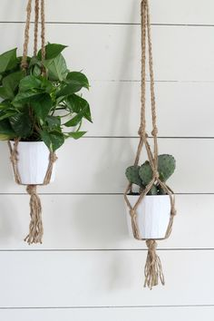I love this project for the ease and simplicity of it. You could easily whip out three of these babies in 30 minutes once you get the hang of it.Now, before anyone gets too upset, I know this isn't actually macrame. This is just my super simple way to make a jute plant hanger that mimics the macrame style.I love having plants around the house. They reduce carbon dioxide levels and other air pollutants,and they just look so beautiful and fresh.