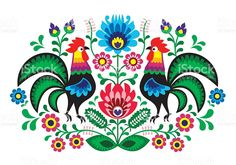 Polish folk art floral embroidery with cocks - traditional folk pattern royalty-free stock vector art