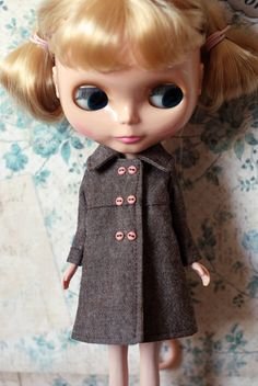 Double button coat brown for blythe. $30.00, via Etsy.
