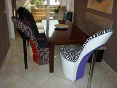 Shoe shaped chairs. Only for #women!...#Shoes