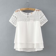 Encontrar Más Blusas y Camisas Información acerca de Nuevo 2016 Summer Fashion Gasa de Las Mujeres Blusas de Manga Corta Del O cuello Más Tamaño Suelta la Blusa de Encaje Camisas Casual Tops Blusas, alta calidad top camisa de la blusa, China top venta mujeres fragancias Proveedores, barato camisa de cuello de color diferente de Shenzhen Fine clothes Co., LTD. en Aliexpress.com