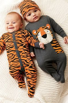 Newborn Clothing - Baby Clothes and Infantwear - Next Tiger Sleepsuits Two Pack