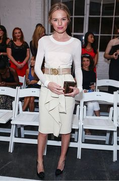 Kate Bosworth was a vision in white and ruffles at the 2012 Altuzarra show
