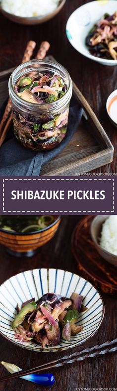 Shibazuke Pickles - Shibazuke is a popular pickle originated in Kyoto. These salty and slightly sour pickles have beautiful natural purple color from purple shiso leaves. Enjoy these pickles with steamed rice or Ochazuke. Cookbook Recipes, Diet Recipes, Vegetarian Recipes, Snack Recipes, Marinated Eggplant Recipe, Eggplant Recipes, Easy Japanese Recipes, Japanese Dishes, Japanese Food