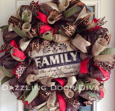 Custom FAMILY Deco Mesh Wreath with Red, Leopard and Cheetah Ribbon. by DazzlingDoorDivas