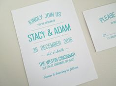 Modern Wedding Invitation Wedding Invite and response card in teal