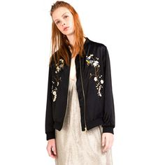 9f9f9efebd9e9 Woman Autumn Winter Bird Plum Flower Embroidery Jacket New Contrast color  Floral Bomber Jacket Coat Black Pilots Outerwear SS419-in Basic Jackets  from ...