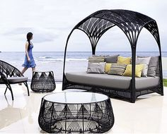 With the look of dainty doily and the durability to withstand the elements, this new indoor and outdoor furniture collection from Kenneth Cobonpue has beauty and brawn! The Hagia collection features an intricately and painstakingly woven design on a steel frame, resembling the craft of crochet