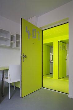 Bringing color from one room to the other using the door -- #401 65 logements étudiants - Parigi, France - 2008 - Hamonic + Masson