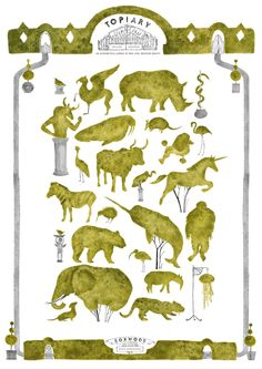 Topiary Menagerie - Art Print by Hannah Bailey