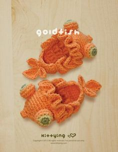 Goldfish Baby Booties Crochet PATTERN Kittying Crochet Pattern by kittying.com from mulu.us This pattern includes sizes for 0 - 12 months.