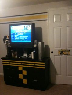 Steelers room with fun stripes and a diy dresser paint decor (fun to do!)