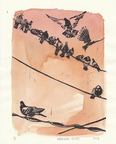 Pigeons on a Wire  Monoprint  Relief Print & by MariahScee on Etsy, $40.00