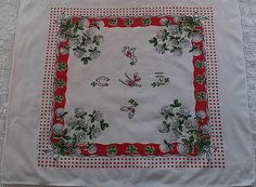 Vintage Startex Good Luck Rabbits Foot 4 Leaf Clover Kitchen Towel Tablecloth | eBay