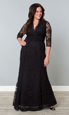 Screen Siren Lace Gown (Onyx) from Stylish Plus - Plus Size Clothing Australia 2x