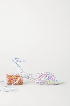 Heel measures approximately inches Multicolored leather Ties at ankle Imported Sophia Webster, Blue Sandals, Personal Shopping, World Of Fashion, Luxury Branding, Leather Sandals, Kitten Heels, Fashion Accessories, Floral Prints