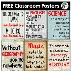 Free classroom posters for your middle/high school classroom! Use as classroom decor, writing prompts or discussion starters.  HistoryGeographyEnglishMathScienceMusicCheck out more of my poster sets by clicking the links below:Classroom Poster PackELA Pos