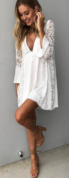 #spring #outfits White Lace Dress + Nude Sandals