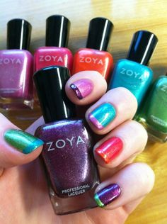 This fairy has been experimenting with color combinations with the Surf Collection Colors! Here's a peek... http://www.zoya.com/content/38/category/Beach-and-Surf-Summer-NailPolish-Color-Collection.html?O=PN120605TU01012
