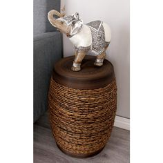 Eclectic pieces like this drum stool add texture to the space.