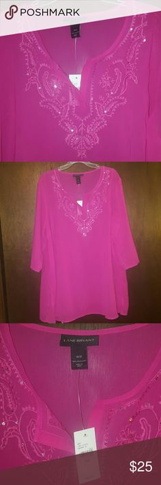 Bright pink blouse PRICE REDUCTION!!!! This is a sheer polyester v-neck blouse, with embellished collar. Lane Bryant Tops Blouses