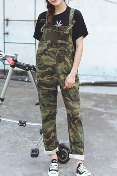Casual Harem Camouflage Overalls For Women
