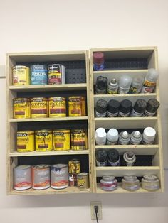 Garage Storage Cabinet Plans Lovely Quart and Spray Paint Can Shelves – Greenhouses from Old Windows and Doors Garage Workshop Organization, Garage Tool Storage, Garage Storage Cabinets, Workshop Storage, Garage Tools, Garage Shop, Shed Storage, Diy Storage, Plate Storage
