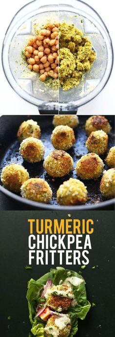 AMAZING 30 Minute TURMERIC Chickpea Fritters! Little falafel-like pillows of bliss // SO flavorful! #healthy #vegan #recipe #chickpea #turmeric #dinner #minimalistbaker