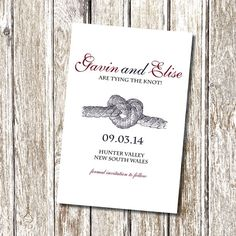 Tying the Knot - Save the Date - Printable and Personalised