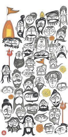 People of India - Sadhus at Kumbh Mela Art Print by studiowotmot Om Namah Shivaya, Indian Illustration, Digital Illustration, Doll Painting, Durga Painting, Kumbh Mela, Whatsapp Wallpaper, Indian Folk Art, Indian Art Paintings