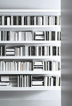 Shelves full of monochromatic books, interior, storage