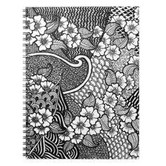 Flower Notebook Notizbuch Zentangle, Spiral Notebooks, Curtains, Shower, Prints, Notebook, Rain Shower Heads, Blinds, Zentangle Patterns
