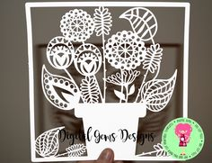 Flowers In Plant Pot Paper Cut Template SVG / DXF Cutting File For Cricut / Silhouette & PDF Cut your Own Printable File, Download by DigitalGems on Etsy