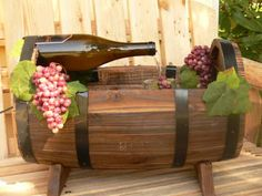 Wine barrel fountain on backyard