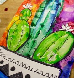 Kim & Karen: 2 Soul Sisters (Art Education Blog): Art Camp-Growing a Cactus or 2 with Watercolor, Alcohol, and Salt
