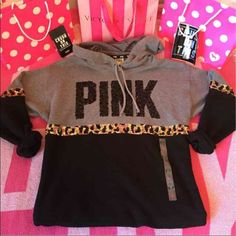 Victoria's Secret Pink Sequin Leopard Hoodie Exclusive Victoria's Secret Pink Collection   Sequin Leopard Hoodie  Size: Small (oversized fit)  New without tags (tag came off)  (OPEN TO TRADES ONLY FOR MY ISO, CHEETAH VS PINK ITEMS OR BLING ITEMS ---TRADE VALUE $150 ) Free shipping & lower on Ⓜ️ercari PINK Victoria's Secret Sweaters