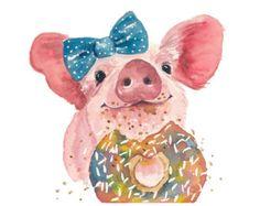 Pig Watercolor PRINT  5x7 Painting Print Sprinkle Donut | Etsy