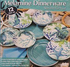 Melamine Blue/Green Sea Life 12-Piece Dinnerware set - 4 Dinner plates, 4 Salad plates and 4 Bowls